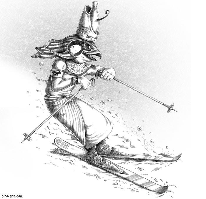 Horus Goes Skiiing by biro-art.com